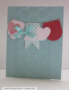 Sarah's Stamp Lab: Hearts A Flutter, Honeycomb Embossing Folder