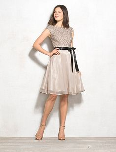Lace Top Fit-and-Flare Dress