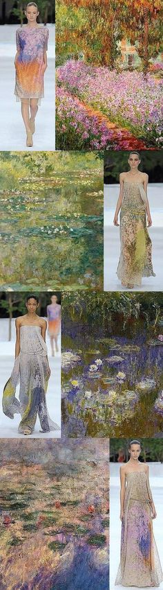 Claude Monet gardens and water lilies paired with Albert Kriemler dresses