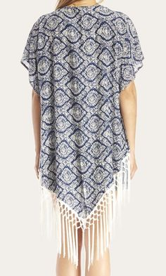 #Fashion  Summer Style : Navy & white paisley-printed kimono with tassels along the bottom. Definitely a ...