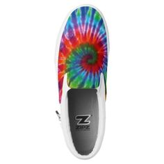 #Hippy Peace Retro 60s Tie Dye Slip-On Sneakers - #womens #shoes #womensshoes #custom #cool