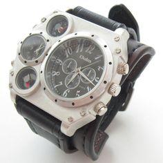 Steampunk Leather Cuff Watch Handmade, Bracelet Watch, Dual Time Watch, Black & Brown Leather Watch