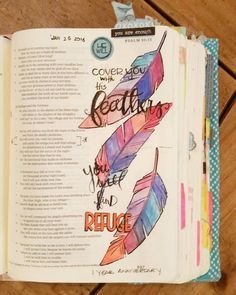 My 1-year anniversary of my first bible journaling entry. What a journey this has been! Every crafting project has lead me to this- finding refuge in his word and finding refuge under His wings. Psalm 91:4 #illustratedfaith #biblejournaling #journalingbible #intheword by nrgunderson