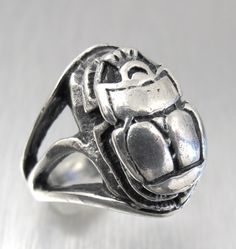 Vintage Sterling SIlver Scarab Ring Egyptian by TonettesTreasures