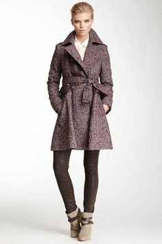 Via Spiga Double Breasted Military Tweed Coat with Faux Leather Trim