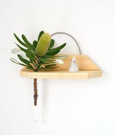 Hanging shelf, hanging vase, shelf vase, reclaimed wood, minimalist, minimal vase, test tube vase, minimalis home