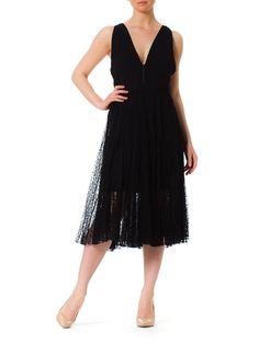 1930s Black Pleated Lace Back Crochet Detail Cocktail Dress