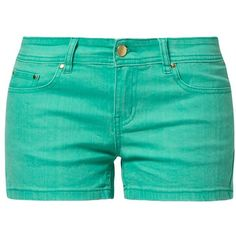 Even&Odd Denim shorts green (81 BRL) ❤ liked on Polyvore featuring shorts, bottoms, pants, pants/shorts, turquoise, short jean shorts, jean shorts, green jean shorts, green shorts and denim shorts