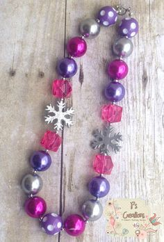 RTS Frozen Inspired Chunky Bubblegum Necklace by PsCreation, $14.95