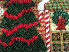 Santa's Workshop stitched by Cindy! Santas Workshop, Tree Skirts, Needlepoint, Christmas Tree, Stitch, Holiday Decor, Home Decor, North Pole Santa's Workshop, Homemade Home Decor