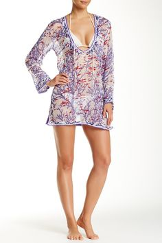 Beautiful Letarte Printed Silk Cover-Up Tunic