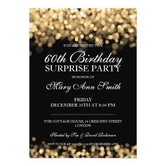Elegant Surprise Birthday Party Gold Lights Card Gifts