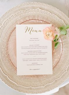 This Elegant Seaside Belle Mer Wedding captured by Rebecca Yale features a Jenny Yoo wedding dress and blooms by Anchor & Grace. Wedding Place Settings, Wedding Menu Cards, Wedding Stationary, Wedding Invitations, Gold Wedding, Wedding Table, Wedding Reception, Dream Wedding, Wedding Day