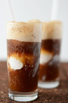 Vodka Root Beer Floats *2 cans Hansens Root Beer (or other natural soda) *4 Tbsp (2 oz) quality vodka (Kahlua and dark rum also worked nicely) *4 scoops ice cream Instructions: Split a can of soda between two large glasses and then add a shot of vodka to each. Carefully drop two scoops of dairy-free ice cream into each glass and then top off with remaining can of root beer. Slurp, scoop and enjoy.