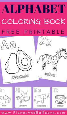 Alphabet coloring pages - free printable ABC activities for preschool and kindergarten. Toddler Coloring Book, Alphabet Coloring Pages, Coloring Pages For Kids, Coloring Books, Preschool Books, Preschool Printables, Free Printables, Preschool Worksheets, Preschool Learning