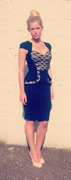 Hybrid Navy Lace Panel Dress
