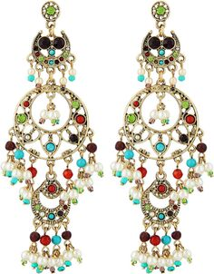 RJ Graziano Crystal Beaded Triple-Drop Chandelier Earrings on shopstyle.com