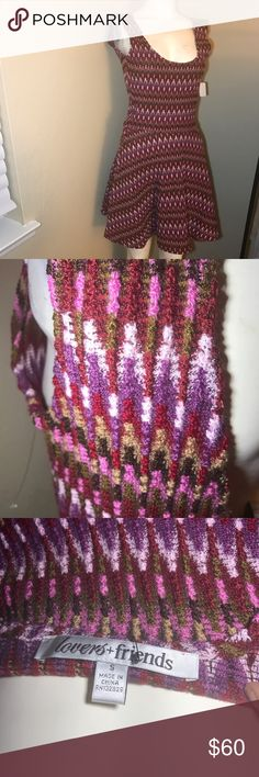 Lovers & Friends Zig Zag Woven Fit to Flare Dress Like new dress by Lovers & Friends, never worn. Gorgeous multicolored knit pattern. Awesome texture, and flattering fit to flare. Adorable! Lovers + Friends Dresses Mini