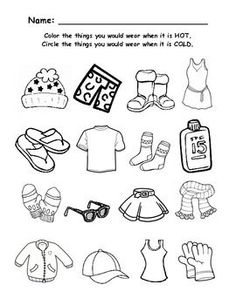 Summer Clothing- Color the items that you would wear in