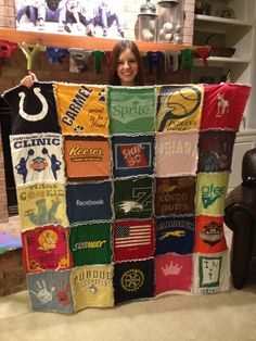 T-shirt quilt I made with my friend Susan for our Brazilian exchange student Julia.  She loved it.  Well worth the time and effort!  I can't wait to make one for my own kids.