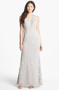 Adrianna Papell Sleeveless Lace Gown | Nordstrom    Is this too white...?