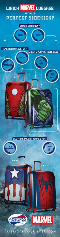 Love Marvel? We've got the perfect Avengers bag for you. Choose from Captain America luggage, Iron Man luggage, Hulk luggage or Spiderman luggage and travel like a superhero.