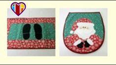 Papai noel - Conjunto artesanal para banheiro de tecido com apliquê - Ma...