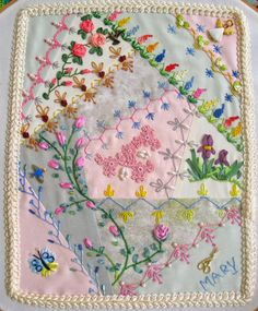 Mary D., Florida, USA Hand Embroidery Stitches, Modern Embroidery, Ribbon Embroidery, Machine Embroidery Designs, Embroidery Patterns, Quilt Patterns, Crazy Quilt Stitches, Crazy Quilt Blocks, Crazy Quilting