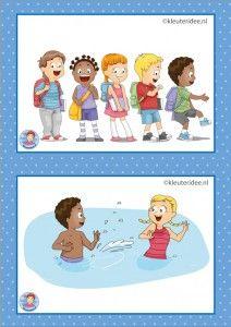 14 In de rij en zwemmen.  32 dagritmekaarten voor kleuters, juf Petra kleuteridee / Preschool schedule cards