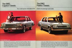 1982 Chevrolet Caprice Classic and Malibu Classic - Two contemporary examples of the classic six-passenger automobile - Original Ad