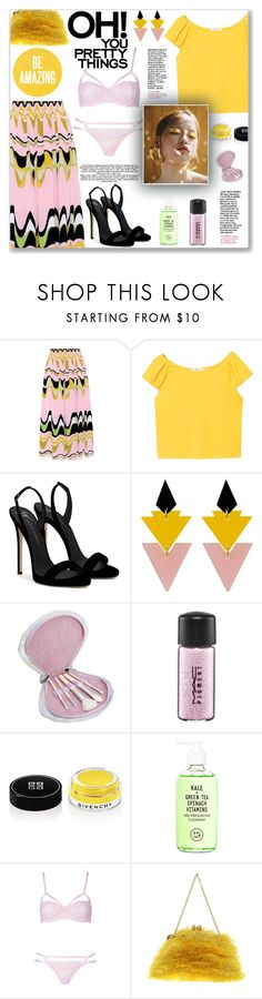 """""""How to wear a Printed Midi Skirt!"""" by disco-mermaid ❤ liked on Polyvore featuring Emilio Pucci, MANGO, Giuseppe Zanotti, Toolally, MAC Cosmetics, Givenchy, Youth To The People, Dolce&Gabbana, Heels and pastel"""