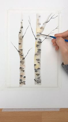 Birch Tree Tutorial A mini tutorial of how I paint quick birch trees. Tree Watercolor Painting, Watercolor Paintings For Beginners, Watercolor Art Lessons, Pour Painting, Watercolor Landscape, Encaustic Painting, Watercolor Artists, Watercolor Portraits, Watercolor Techniques