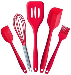 Silicone Kitchen Utensil Set of 5 Jstariver Hygienic OnePiece Cooking Tools Spatula Basting Brush Whisk Turner Heat Resistant Durable Nonstick -- This is an Amazon Affiliate link. You can get additional details at the image link.