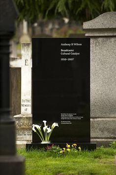 Factory Records founder Anthony H Wilson died in August Just over three years later, a memorial headstone designed collaboratively by Wilson's long-term associates Peter Saville and Ben Kelly. Peter Saville, Tombstone Designs, Factory Records, Creative Review, Cemetery Art, Cemetery Monuments, Poster Design, Typography Design, Typography Images