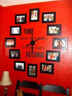 living rooms, clock wall, family photos, family rooms, hous, wall clocks, picture frames, family time, red walls