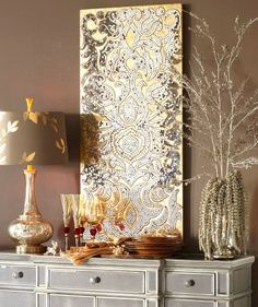 Mirrored damask panel from Pier 1 Imports. Beautiful!