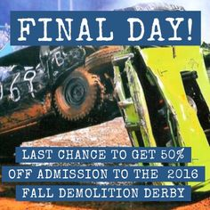 Last day to get 50% off demolition derby tickets for this Saturday! http://ift.tt/2d8sCYd  #nwa #nwark #demoderby #rodeooftheozarks