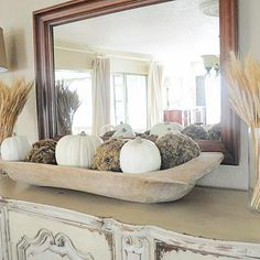 Love Wooden Dough Bowls With White Pumpkins No Less Mantelpiece Decor Fall Mantel