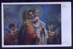 Madonna Hans Zatzka Vintage Religious Postcard Mary mother of