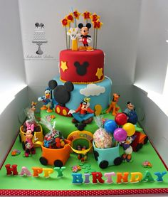 Delectable Delites: 3 tier Mickey mouse clubhouse with train Gateau Theme Mickey, Mickey Mouse Torte, Minni Mouse Cake, Mickey Mouse Train, Mickey Mouse Theme Party, Mickey Mouse Party Decorations, Mickey Mouse First Birthday, Mickey Mouse Clubhouse Birthday Party, Mickey Mouse And Friends