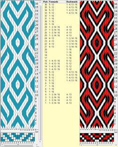 Slavic 16 tarjetas, 2/3 colores, repite cada 24 movimientos // sed_300 diseñado en GTT༺❁ Inkle Weaving, Inkle Loom, Card Weaving, Tablet Weaving Patterns, Loom Patterns, Finger Weaving, Types Of Weaving, Woven Belt, Diy Couture