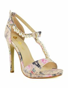 #Paris Shimmer Pearls Bows T Strap Faux Leather Women Heels