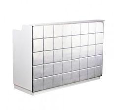 Salon Furniture: Deco Fab Reception Desk — White/Silver