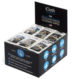 iCloth Avionics Screen Cleaning Wipes for a like-new shine on larger or multiple displays [iCA100] 100 wipe pack