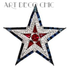RARE Trifari US WWII Patriotic Ruby, Sapphire & Diamante Paste Star Brooch ~NR~ #Trifari