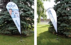 Grab attention with these 10 foot tall outdoor flags. A great way to promote an event. Small Business Solutions, Outdoor Flags, Trade Show, Surfboard, Graphic Design, Surfboard Table, Skateboarding