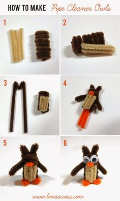 Easy DIY: How to Make Pipe Cleaner Owls. Adorable craft for the kids or for young campers.