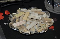 Jenga advice.  For a bridal shower.  Every time they play they'll be reminded of their loved one's advice.