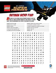 LEGO Batman Word Find Printable