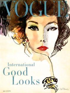 Vogue US March 15, 1958, cover illustration René Bouché